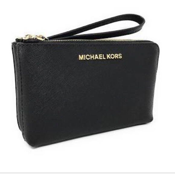 f753df1eb861 Michael Kors Bags | Brand New Mk Black Jet Set Double Zip Wristlet ...